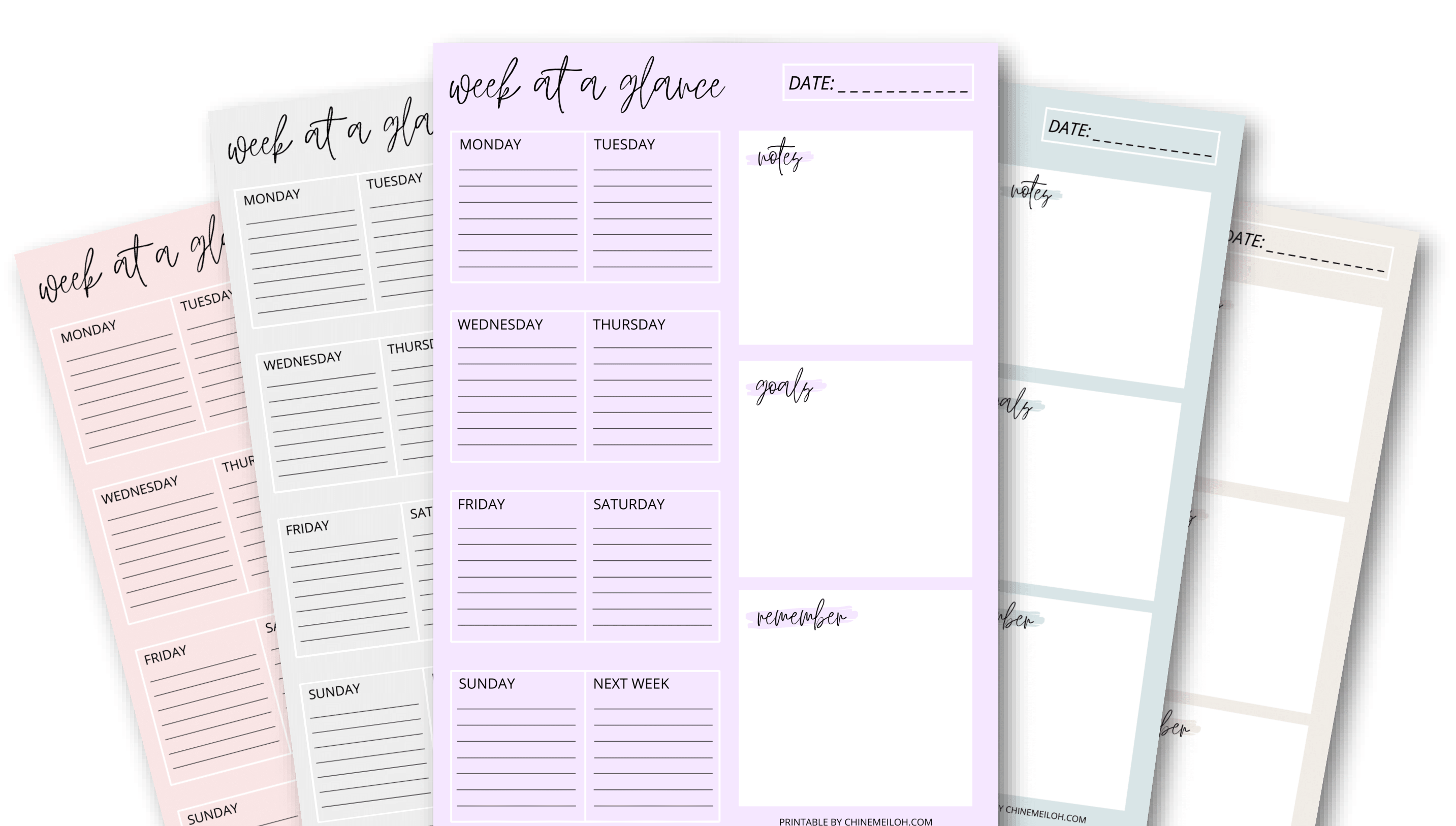 week at a glance weekly planner
